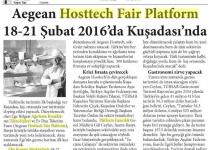 Aegean Hosttech Fair Platform 18-21 Şubat 2016'da Kuşadası'nda